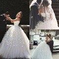 Disse Mhamad Vestidos de Casamento 2017 Feito À Mão Flor de luxo vestido de Baile Querida Neck Mangas Backless Lace-Up Vestidos de Noiva