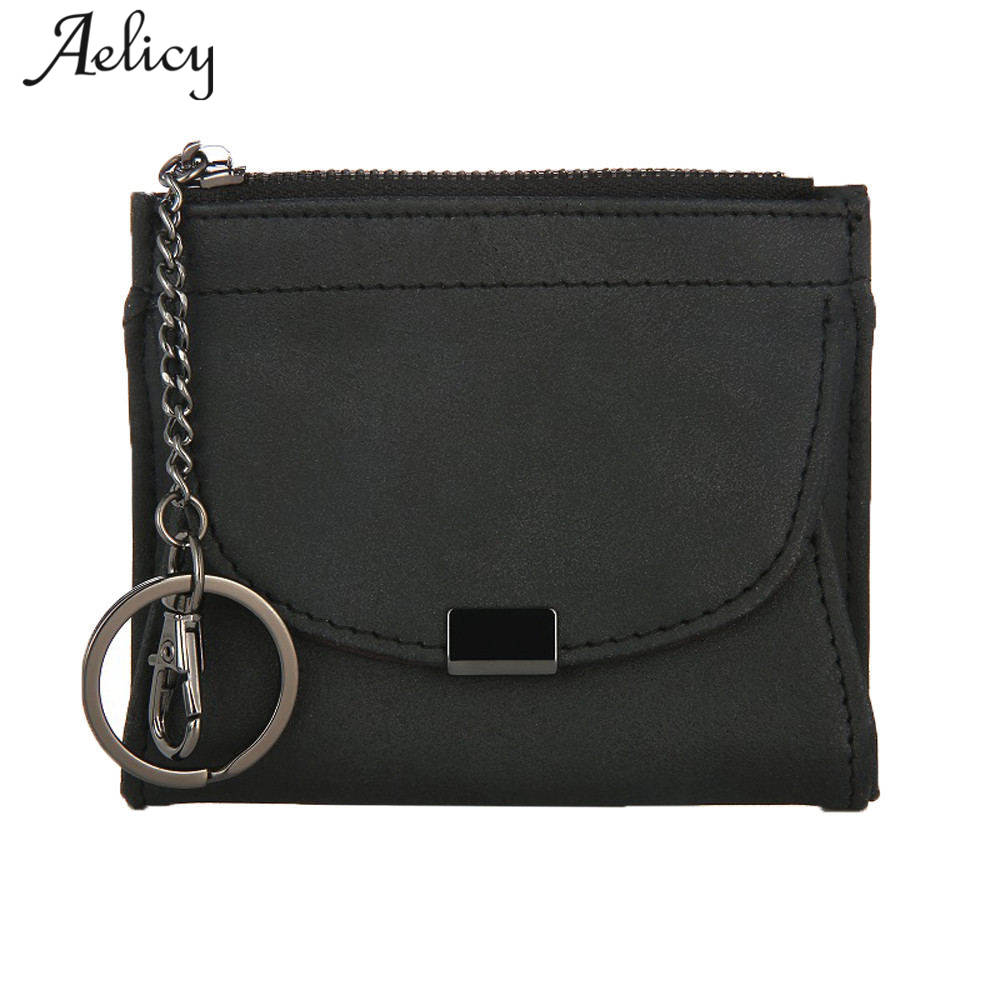 Aelicy Leather Zipper Coin Purse Women Small Wallet Card Holder Zipper Key Ring Mini Money Bags Coin Pocket Wallets Key Holder cute cats coin purse pu leather money bags pouch for women girls mini cheap coin pocket small card holder case wallets