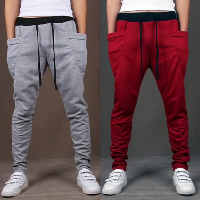 2017 de Los Hombres Pantalones Casuales Diseño Moletom Fresco Grande Bolsillo Tendencia AR ropa de marca pantalones hip hop harem pantalones para hombre joggers 8 colores