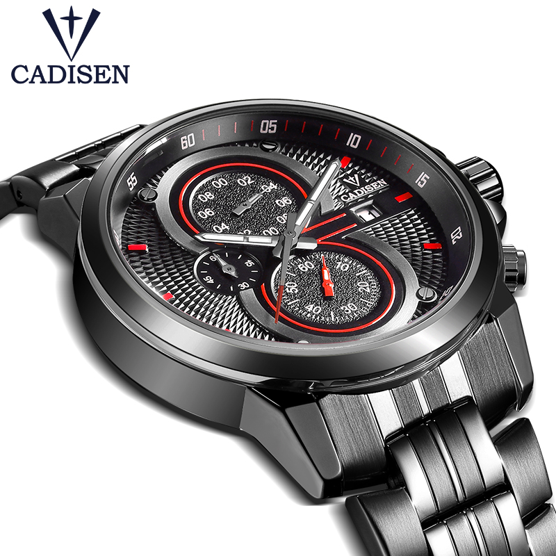 2017 New Cadisen Brand Watch Men Sport Military Quartz Wristwatches Waterproof Stainless Steel Men's Watch Relogio Masculino Box amst brand men stainless steel business quartz watch date casual waterproof fashion military wristwatches with gift box 2016 new
