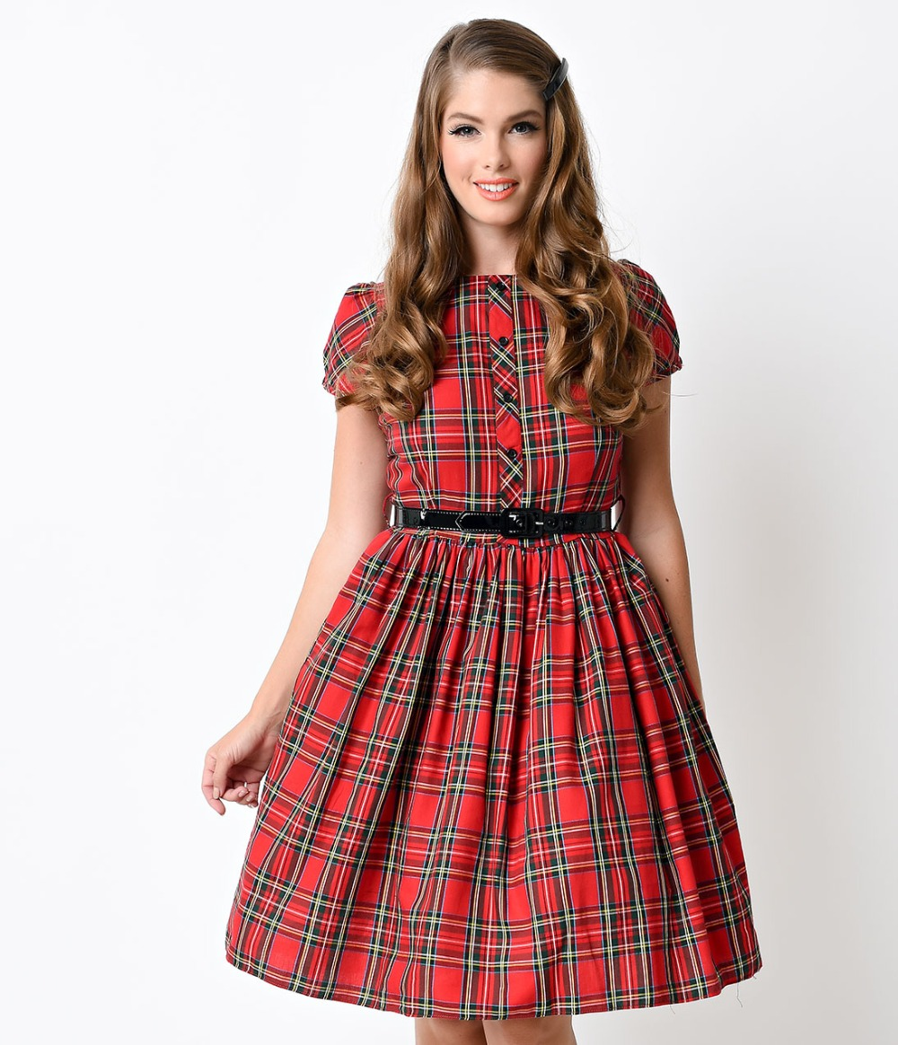 30- summer women vintage 50s tartan boat neck short sleeve swing dress in  red rockabilly pinup dresses big plus size vestidos a2112bf063bc