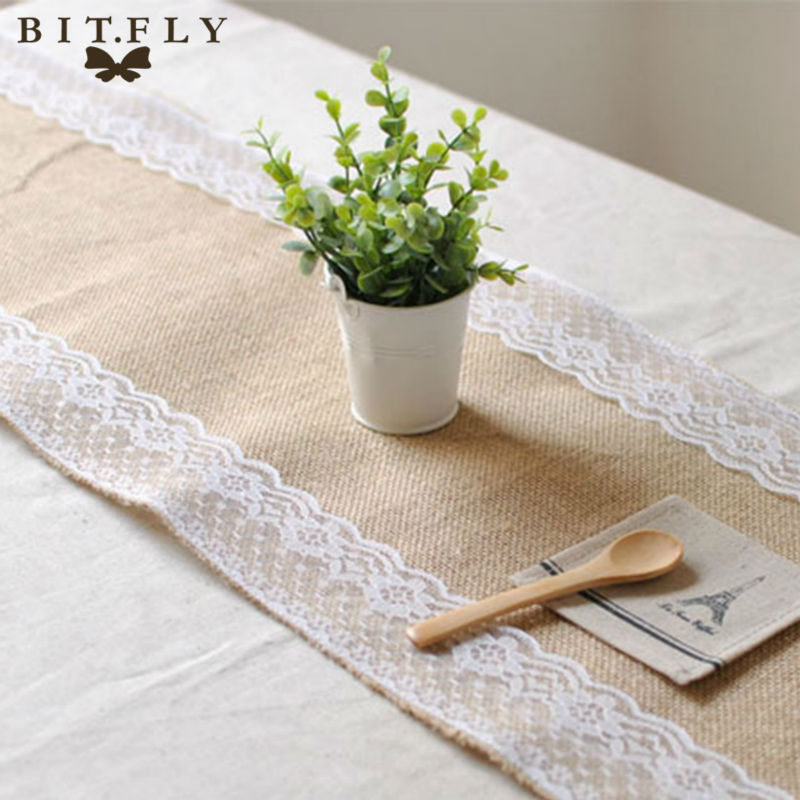 exclusive range outlet detailed images US $12.77 41% OFF|12X108inch Table Runner Jute Burlap Vintage Lace Runners  Table Wedding Country Decoration For Wedding Party Home Decor Supplies-in  ...
