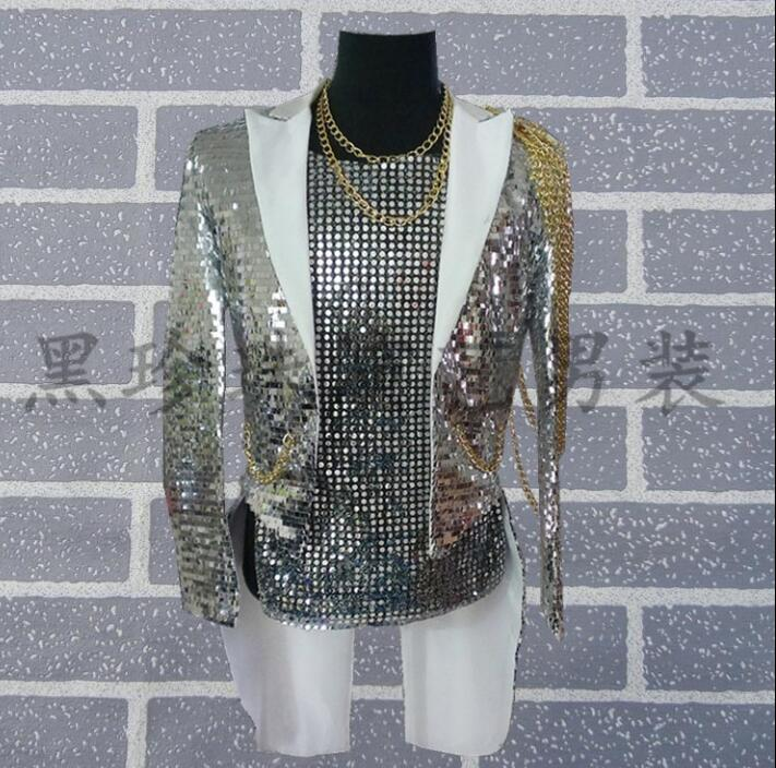 Silver paillette men tuxedo suits designs masculino homme terno stage costumes for singers men sequin blazer jacket star style