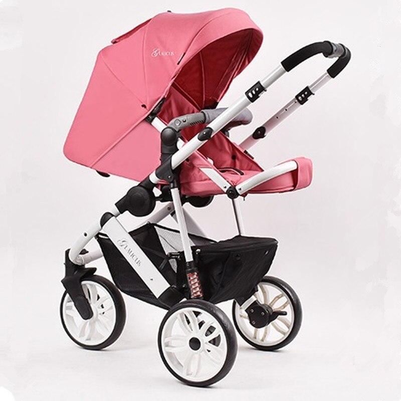 Портативный Детские Коляски 2 в 1 Высокая Пейзаж Алюминий Роскошные складной коляски коляска для новорожденных коляска для Куклы