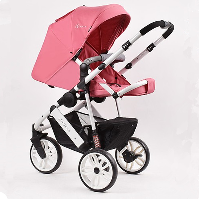 Portable Baby Stroller 2 in 1 High Landscape Aluminum Luxury Folding Baby Carriage Pram For Newborn Stroller For Dolls ...
