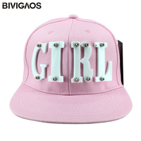 Free Shipping Trendy Fashion Acrylic Girl Letter Rivet Hiphop Cap Flat Brim Cap Snapback Hiphop Hat