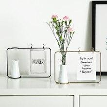 Modern Ceramic Flower Vase with Photo Clip Postcard Holder Golden Black Metal Shelf White Vase