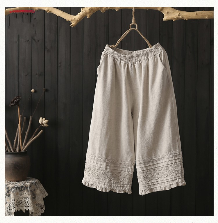 ruffled lace lacing patchwork cotton linen Solid color   Wide     leg     pants   female mori girl 2018