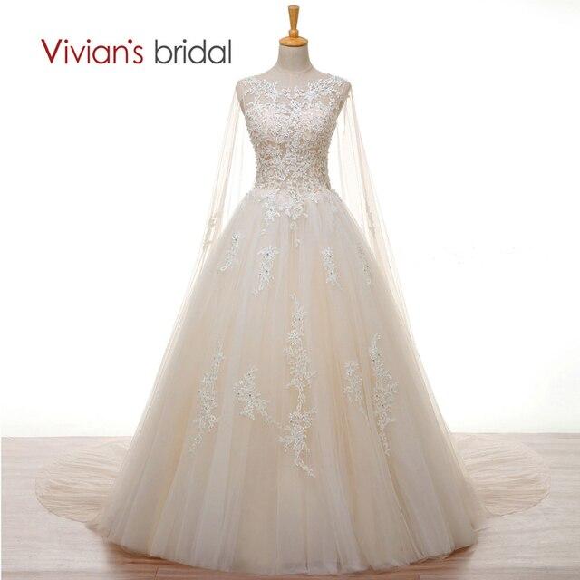 Vivian Bridal Crystal Pearl Putih Renda Champagne Pernikahan Gaun Panjang  Cape Garis 2018 Gaun Pengantin dengan 65fd8d8fa72a