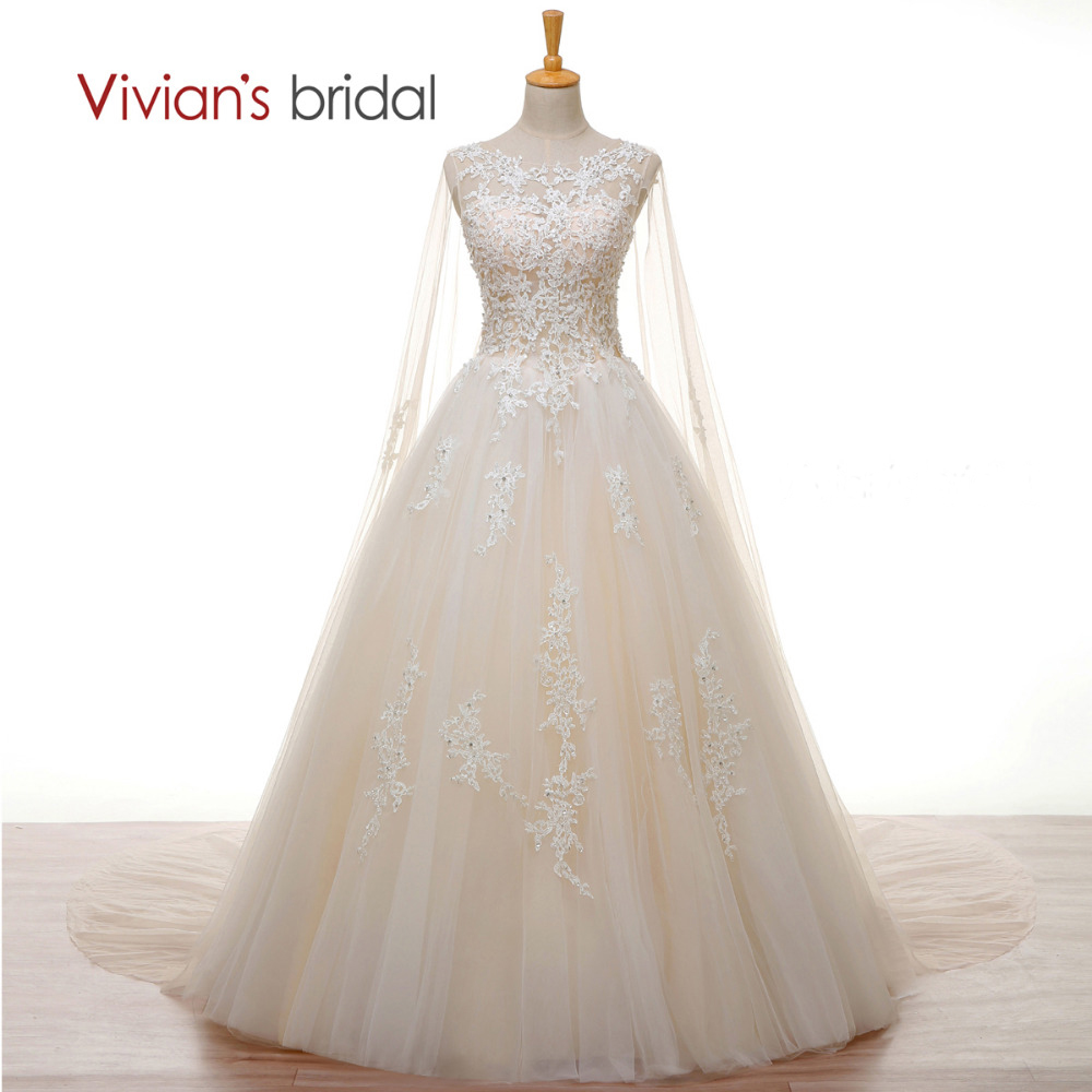 Vivian's Bridal Crystal Pearl White Lace Champagne Wedding Dress Long Cape A Line 2018 Wedding Gown Cheap Customize Bridal Dress