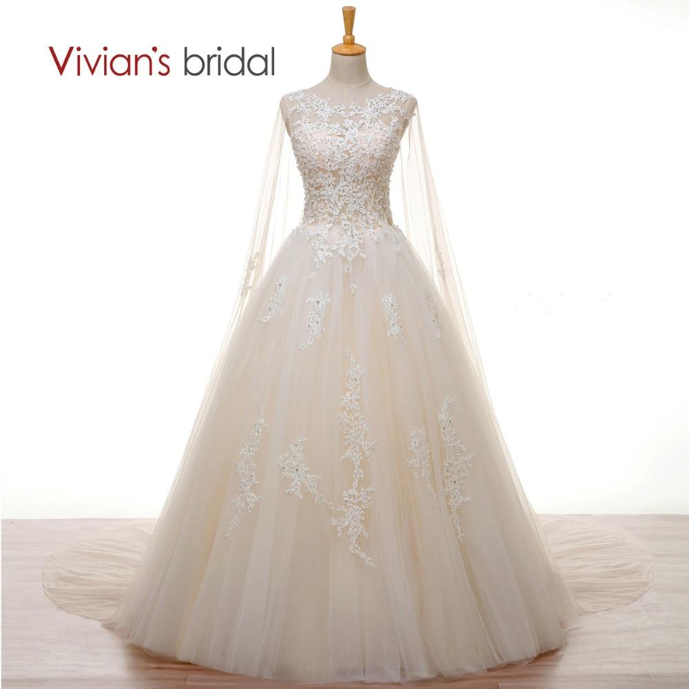 Vivians Bridal Crystal Pearl White Lace Champagne Wedding Dress Long Cape A Line 2018 Wedding Gown Cheap Customize Bridal Dress