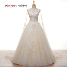 Vivian's Bridal Crystal Pearls White Lace Champagne Wedding Dress with Long Cape A Line Wedding Gown W3501