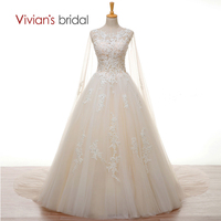 Vivian S Bridal Crystal Pearls White Lace Champagne Wedding Dress With Long Cape A Line Wedding