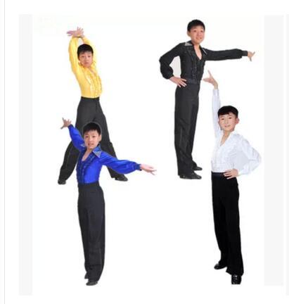 d8aa1323f New Hot Sale Boy Latin Dancewear Ruffly Blue White Black Ballroom ...