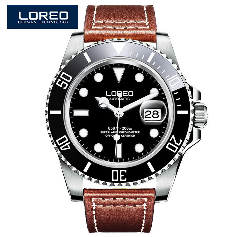 LOREO Shark Series Diver Automatic Self Wind Waterproof 200M Yacht Oyster Perpetual Master Relogio Masculino 116600