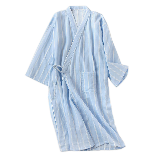 New spring simple striped kimono robes men 100 cotton summer male bathrobes long sleeve SPA casual Japanese robes for men