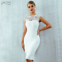 Adyce 2019 New Summer Women White Bandage Dress Vestidos Sexy Black Lace Short Sleeve Hollow Out Club Dress Evening Party Dress