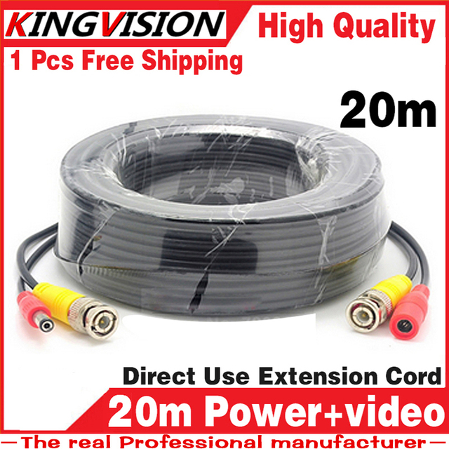 8.28biggest Sale! 20m Video+Power Cables Security Camera Wires for CCTV DVR Surveillance System with BNC DC Connectors Extension