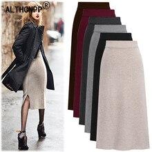 Pencil-Skirt Winter Plus-Size High-Waist-Skirts Split Streetwear Knitted Bodycon Womens