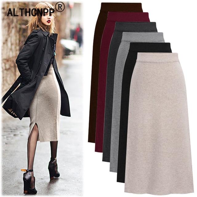 Plus Size M-6XL Winter Knitted Bodycon Pencil Skirt High Waist Skirts Womens  Streetwear Split 509fe0303a86