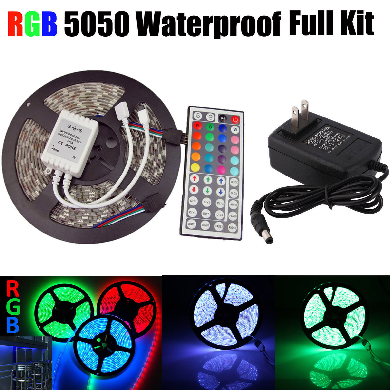 2A Power Waterproof 5M RGB 5050 SMD 300 LED Strip Light Wireless Controller