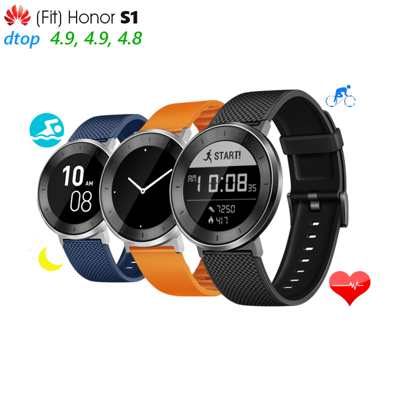 Original Huawei Fit Honor S1 Smart Watch 5ATM SWIM SUPPORT CONTINUOUS HEART RATE USING UP TO