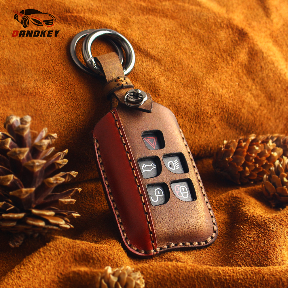 KEYYOU Car Key For Case Keychain Key Bag For Land Rover Range Rover Evoque Discovery 5 Buttons Leather Key Cover Accessories Key Case for Car     -