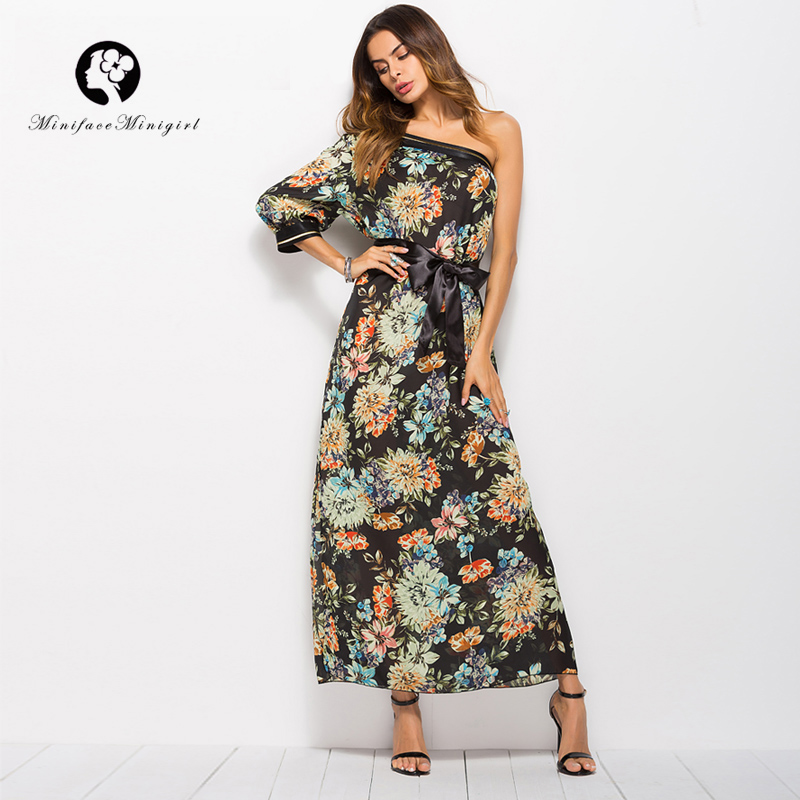2018 Summer Women New Fashion Boho Dresses Chic One Shoulder Split Floral Print Long Sexy Beach Bohemian Maxi Dress Vestidos