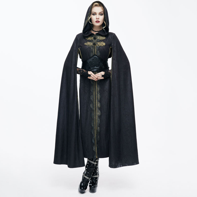 Devil Fashion Punk Gothic Palace Retro Women Hooded Robe Steampunk Black Long Sleeves Embroidery Cloak   Trench   Casual Cape Coats