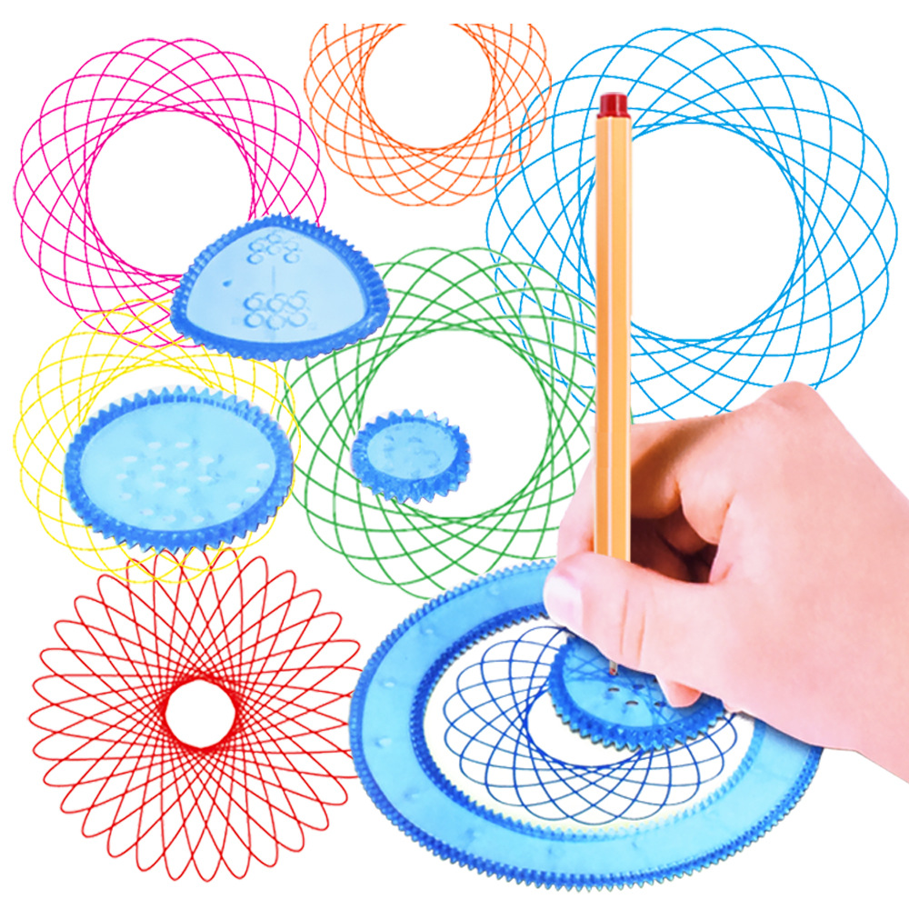 Flower Curve Ruler Spiral Free Style Drawing Toys Children's Art Drawing Formwork Rulers Learning & Education Gifts For Baby