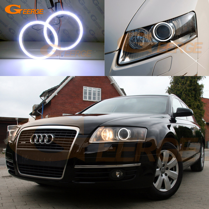 For Audi A6 S6 RS6 2005 2006 2007 2008 XENON headlight Excellent angel eyes Ultra bright illumination COB led angel eyes kit for alfa romeo 147 2005 2006 2007 2008 2009 2010 headlight ultra bright illumination cob led angel eyes kit halo rings