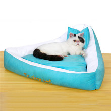 DIDIHOU Bow Pet Bed Small Dog Puppy Kennel Sofa Polar Fleece Material Bed Pet Mat Cat House Cat Sleeping Bag Warm Nest(China)
