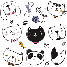 ФОТО  cute animals cat dog patch iron on patches for clothes ironing applications for children's clothing stripe thermo-sticker tops