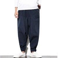 LEFT ROM 2019 Cotton Linen Harem Pants Men Baggy Pants Japanese Style Mens Crotch Wide Leg Pants Casual Loose Boho Trousers 5XL