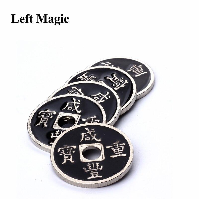 1 Pcs Chinese Coin Magic Tricks ( US Half Dollar Size ) Black Mental Ancient Coins Magic Coins Props Accessories Close Up Magic