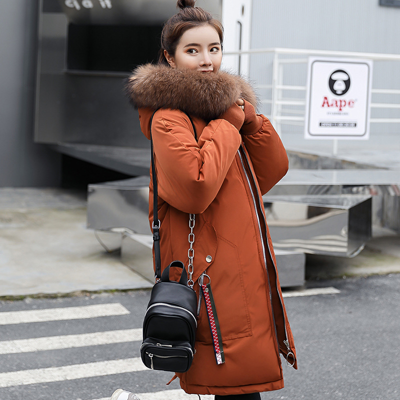 Женская зимняя куртка с меховым капюшоном, длинное пальто с вышивкой, зимнее пальто с хлопковой подкладкой, женские теплые утолщенные куртк...