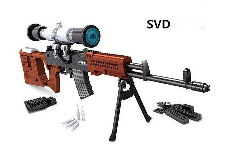 New Military Weapons Building Blocks Classic SVD sniper Rifle Model Compatible with Lepin Gun Toys Bricks Best Gift For Children new lepin 16009 1151pcs queen anne s revenge pirates of the caribbean building blocks set compatible legoed with 4195 children