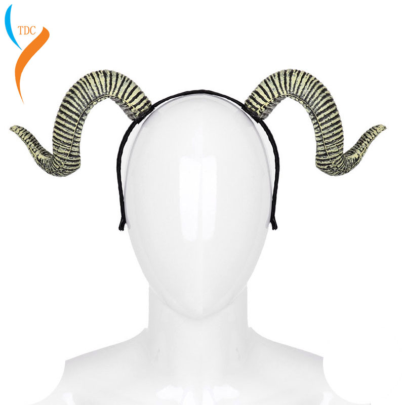 Halloween Burning Man Festival Sheep Horns Hairband Carnival Party Devil Costume Bull Ram Goat Horn Headband  vocaloid cosplay