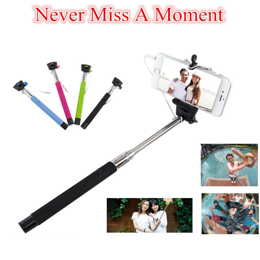 2 in 1 wired cable extendable monopod selfie stick for iphone 5s 6 6 pl. Black Bedroom Furniture Sets. Home Design Ideas