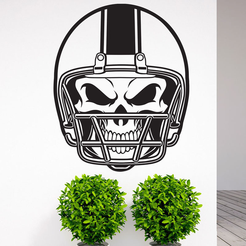 Modern Design American Football Helmet Skull Wall Stickers For Kids Bedroom Wall Decorative Vinyl Wall Decals M571