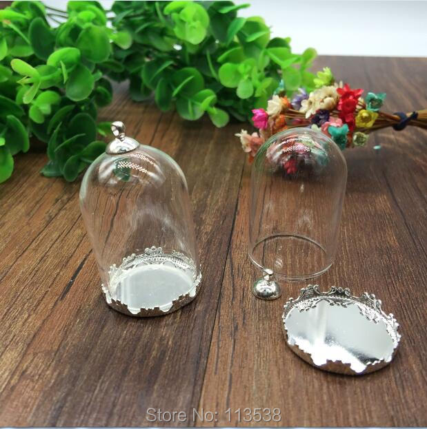 50sets/lot 38*25mm tube glass globe gole color crown base with 8mm metal cap glass vial pendant fashion glass pendant glass dome