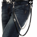 "2 Strand Silver Metal Long Key Wallet Chain Black  Leather Braid Layer Belt 2 Layers Trousers Jeans Chain-33"" KB21"