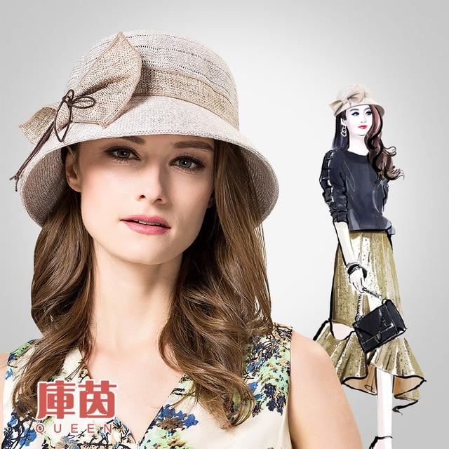2016 New Spring Summer Sun Hat  Elegant Butterfly Knot Knit Hand Hook Basin Cap Sun Cap Foldable Female Outside Hat  B-3176