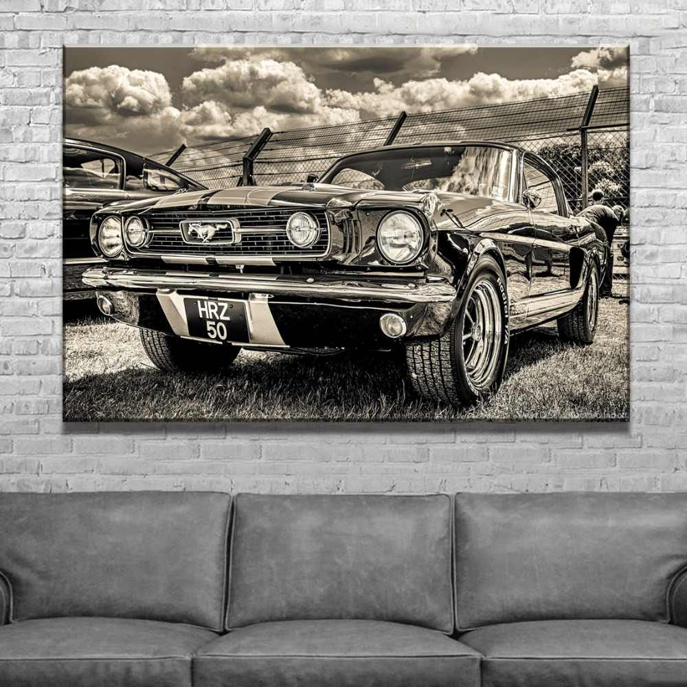 Home Decorative Wall Picture Canvas Painting 1 Piece Vehicle Poster For Modern Living Room Artwork HD Print Ford Mustang Draw