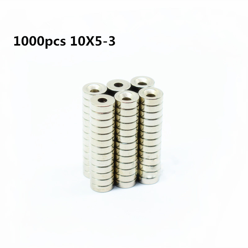 1000pcs 10x5 3mm Round Countersunk Ring Magnet 10mm x 5mm Hole 3mm Rare Earth Neodymium Magnet
