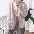Harajuku Suéteres Mujeres 2016 Estilo Coreano Lindo Abrigos Otoño Invierno Dulces de Colores Retro Kawaii Rosa Suéter Largo de La Rebeca de Las Mujeres