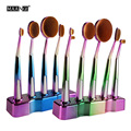 MAANGE 5pcs Soft multipurpose Golf Oval Rainbow Makeup Brushes Set Foundation Powder blusher Blending Cosmetic Brush with stand