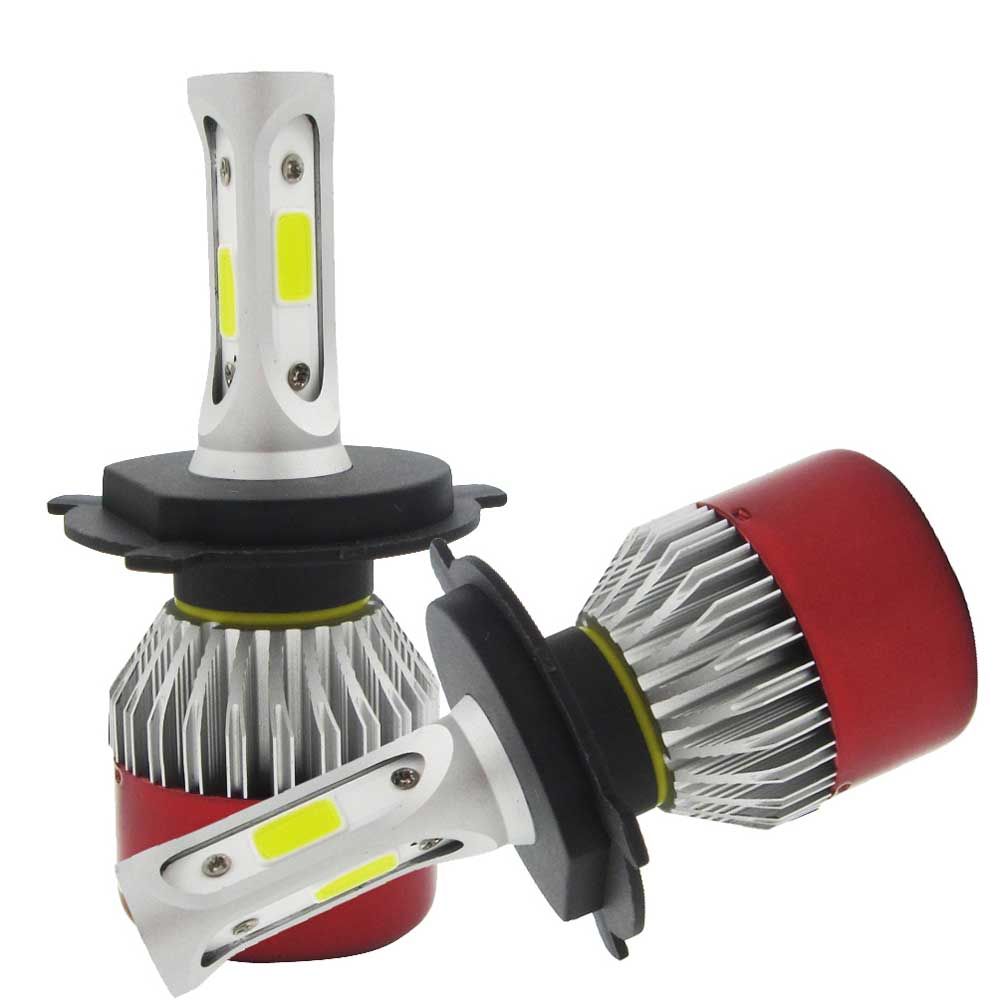2 stk LED hodelykt Kit H4 Hi / Low Beam LED COB Far og nær - Billykter