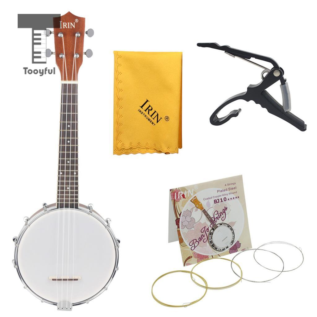 4 String Maple Resonator Tenor Banjo with Capo Strings Cleaning Cloth for Beginner Music Lover Gift dedo ma 11 zinc alloy capo clip on quick release capo for guitar silver