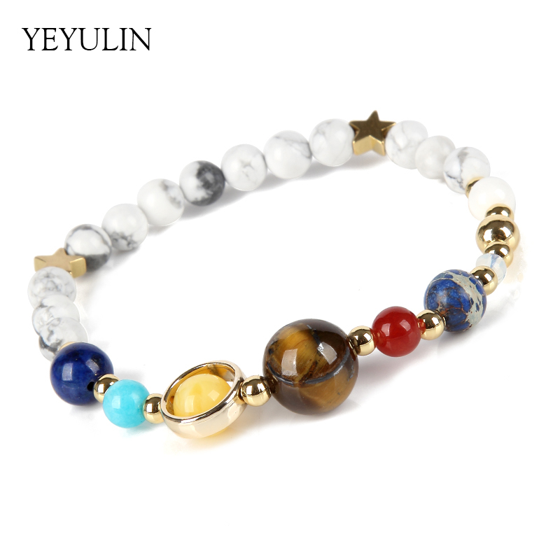 Hot Universe Galaxy Eight Planets In The Solar System Guardian Star Reiki White Natural Stone Beads Elastic Bracelet & Bangle 1x